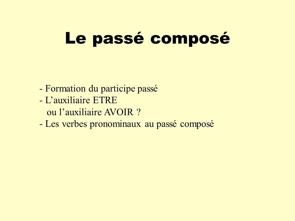 Le passé composé - Formation du participe passé - Lauxiliaire ETRE ou lauxiliaire AVOIR ? - Les verbes pronominaux au passé composé