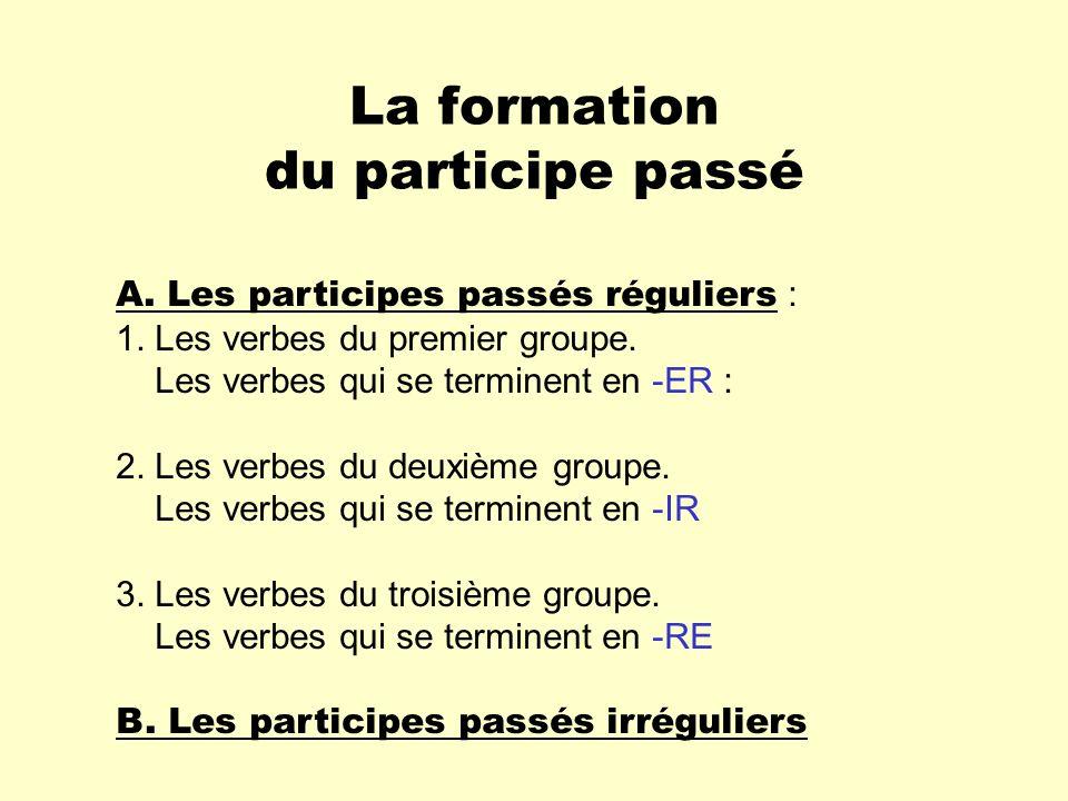 La formation du participe passé A. Les participes passés réguliers : 1. Les verbes du premier groupe. Les verbes qui se terminent en -ER : 2. Les verb