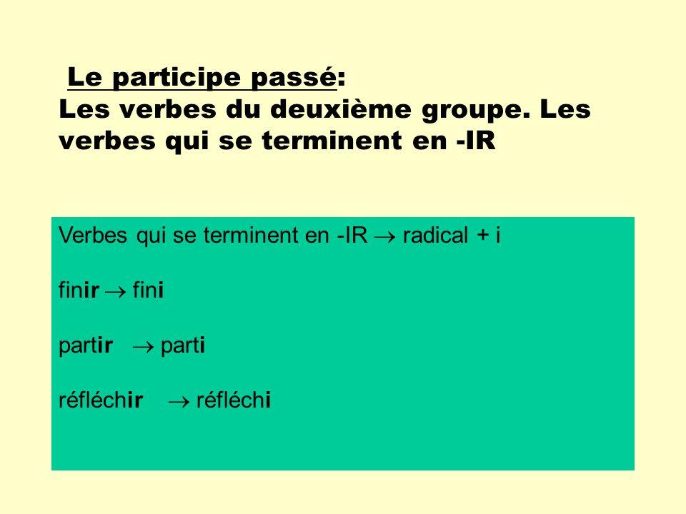 Le participe passé: Les verbes du deuxième groupe. Les verbes qui se terminent en -IR Verbes qui se terminent en -IR radical + i finir fini partir par