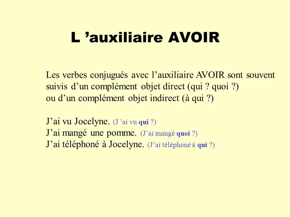 L auxiliaire AVOIR Les verbes conjugués avec lauxiliaire AVOIR sont souvent suivis dun complément objet direct (qui ? quoi ?) ou dun complément objet