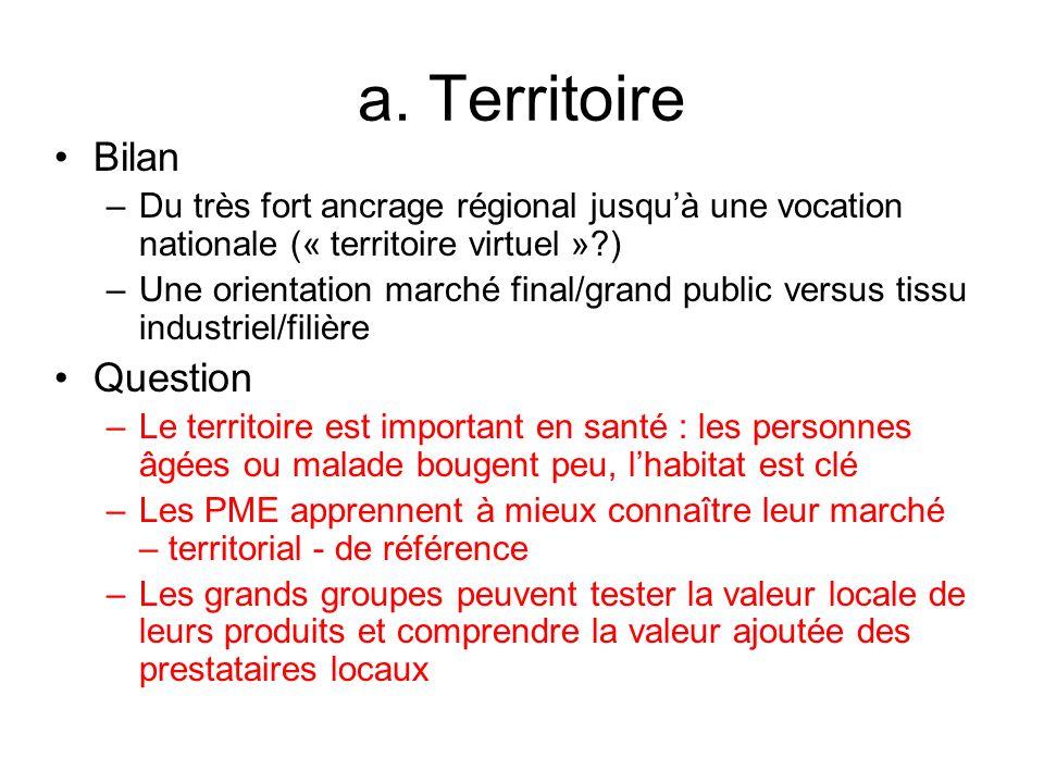 a. Territoire Bilan –Du très fort ancrage régional jusquà une vocation nationale (« territoire virtuel »?) –Une orientation marché final/grand public