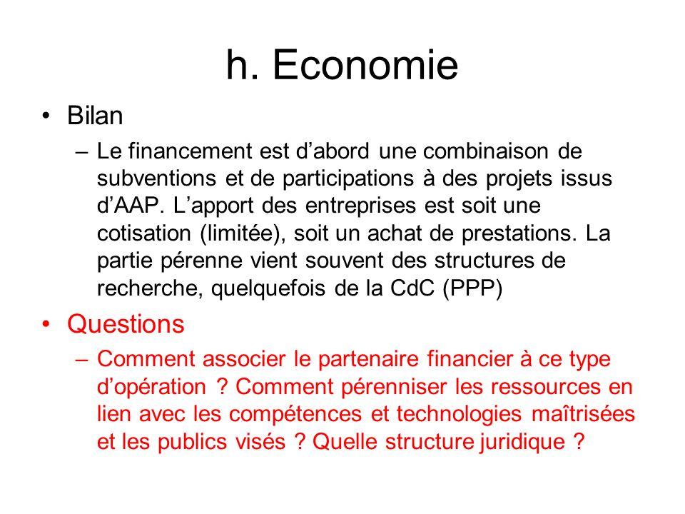 h. Economie Bilan –Le financement est dabord une combinaison de subventions et de participations à des projets issus dAAP. Lapport des entreprises est