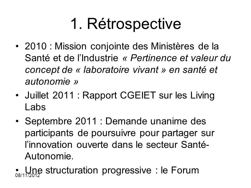 1. Rétrospective 2010 : Mission conjointe des Ministères de la Santé et de lIndustrie « Pertinence et valeur du concept de « laboratoire vivant » en s