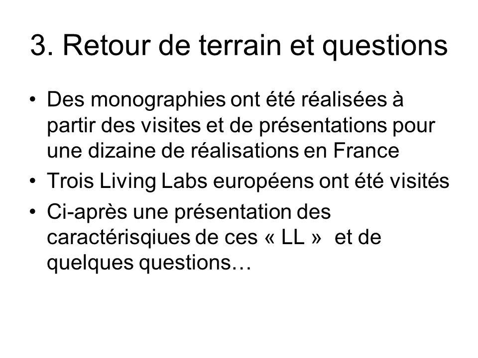 3. Retour de terrain et questions Des monographies ont été réalisées à partir des visites et de présentations pour une dizaine de réalisations en Fran