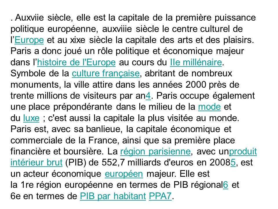 . Auxviie siècle, elle est la capitale de la première puissance politique européenne, auxviiie siècle le centre culturel de lEurope et au xixe siècle