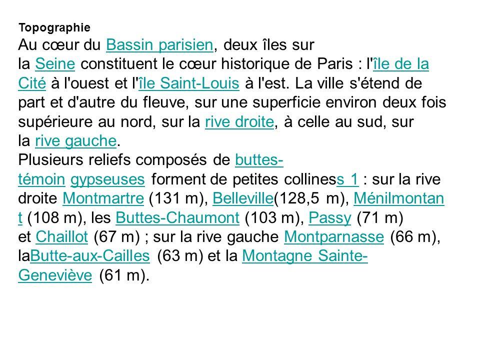 Topographie Au cœur du Bassin parisien, deux îles sur la Seine constituent le cœur historique de Paris : l'île de la Cité à l'ouest et l'île Saint-Lou