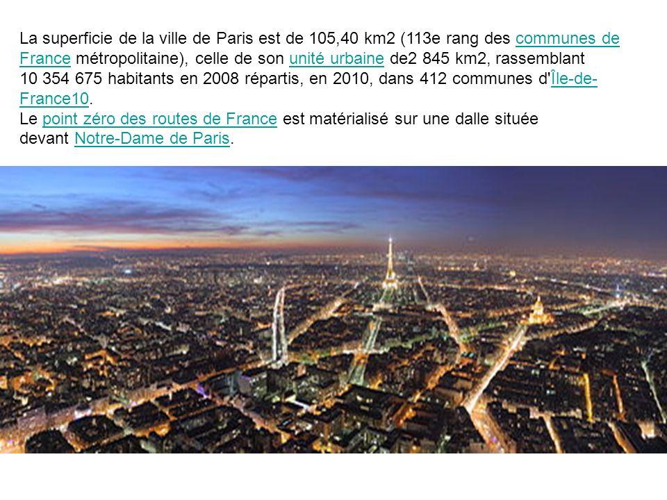 La superficie de la ville de Paris est de 105,40 km2 (113e rang des communes de France métropolitaine), celle de son unité urbaine de2 845 km2, rassem