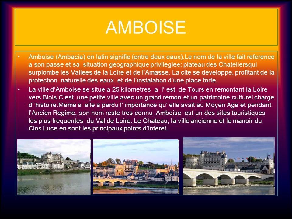 AMBOISE Amboise (Ambacia) en latin signifie (entre deux eaux).Le nom de la ville fait reference a son passe et sa situation geographique privilegiee: