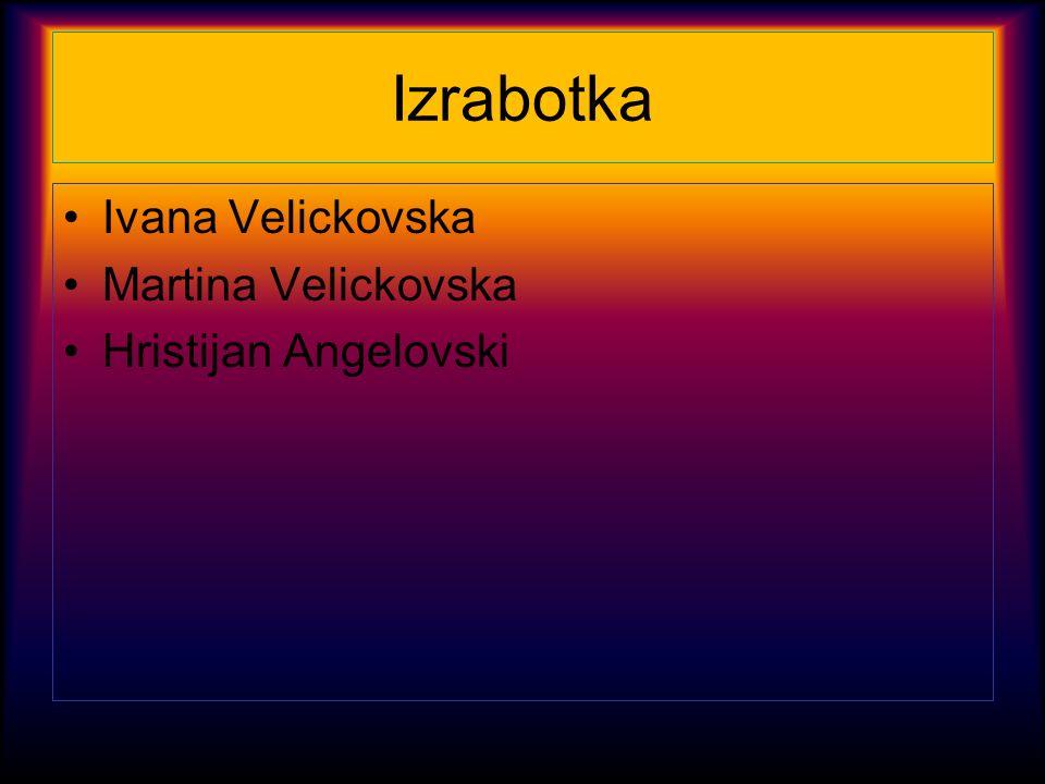 Izrabotka Ivana Velickovska Martina Velickovska Hristijan Angelovski