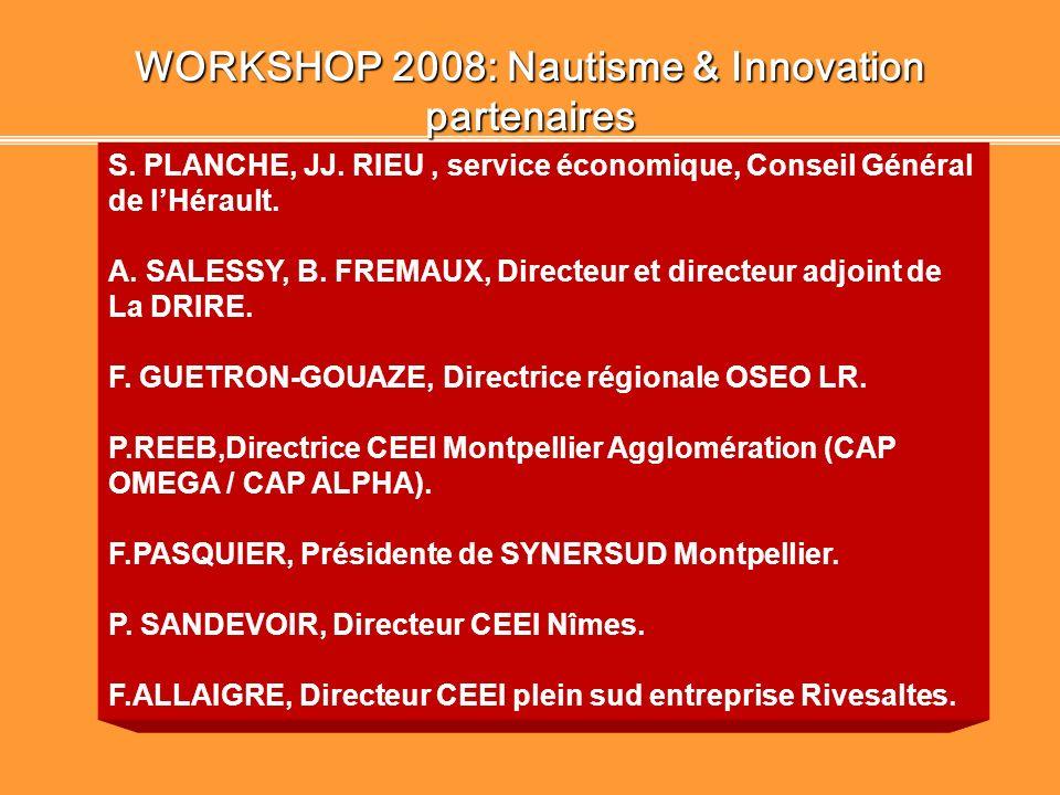 WORKSHOP 2008: Nautisme & Innovation Objectifs 1 Promouvoir des projets technologiques innovants sélectionnés par SUD ANGELS 2 Valoriser ces projets p