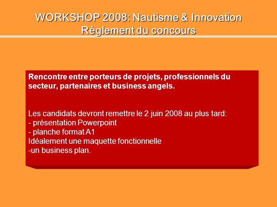 WORKSHOP 2008: Nautisme & Innovation Le(s) projet(s) innovant(s) Projets retenus pour leurs innovations: Monsieur N. CLAVEL, projet OZAPP, TIC de syst