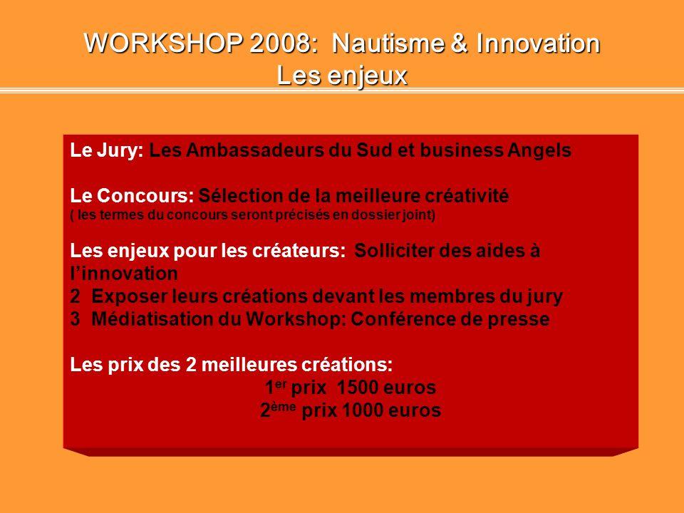 WORKSHOP 2008: Nautisme & Innovation Règlement du concours Rencontre entre porteurs de projets, professionnels du secteur, partenaires et business ang