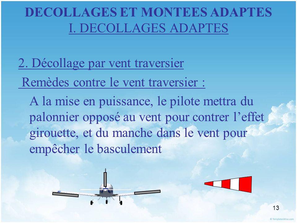 13 DECOLLAGES ET MONTEES ADAPTES I. DECOLLAGES ADAPTES 2. Décollage par vent traversier Remèdes contre le vent traversier : A la mise en puissance, le