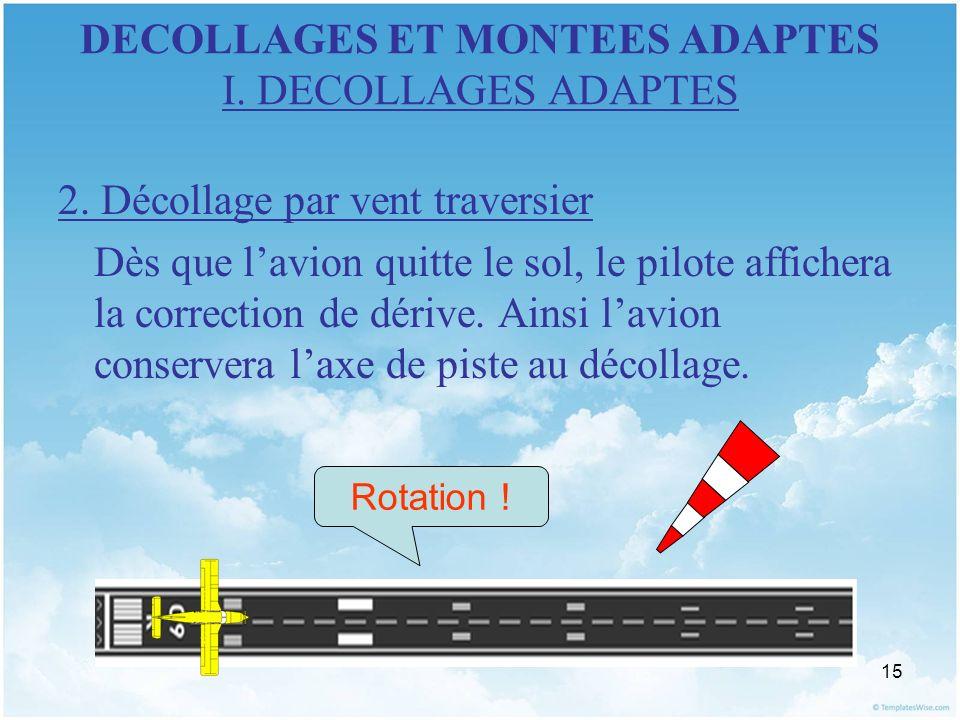 15 DECOLLAGES ET MONTEES ADAPTES I. DECOLLAGES ADAPTES 2. Décollage par vent traversier Dès que lavion quitte le sol, le pilote affichera la correctio