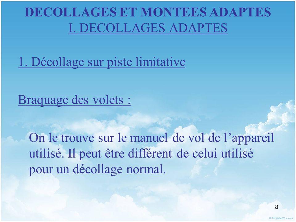 8 DECOLLAGES ET MONTEES ADAPTES I. DECOLLAGES ADAPTES 1. Décollage sur piste limitative Braquage des volets : On le trouve sur le manuel de vol de lap