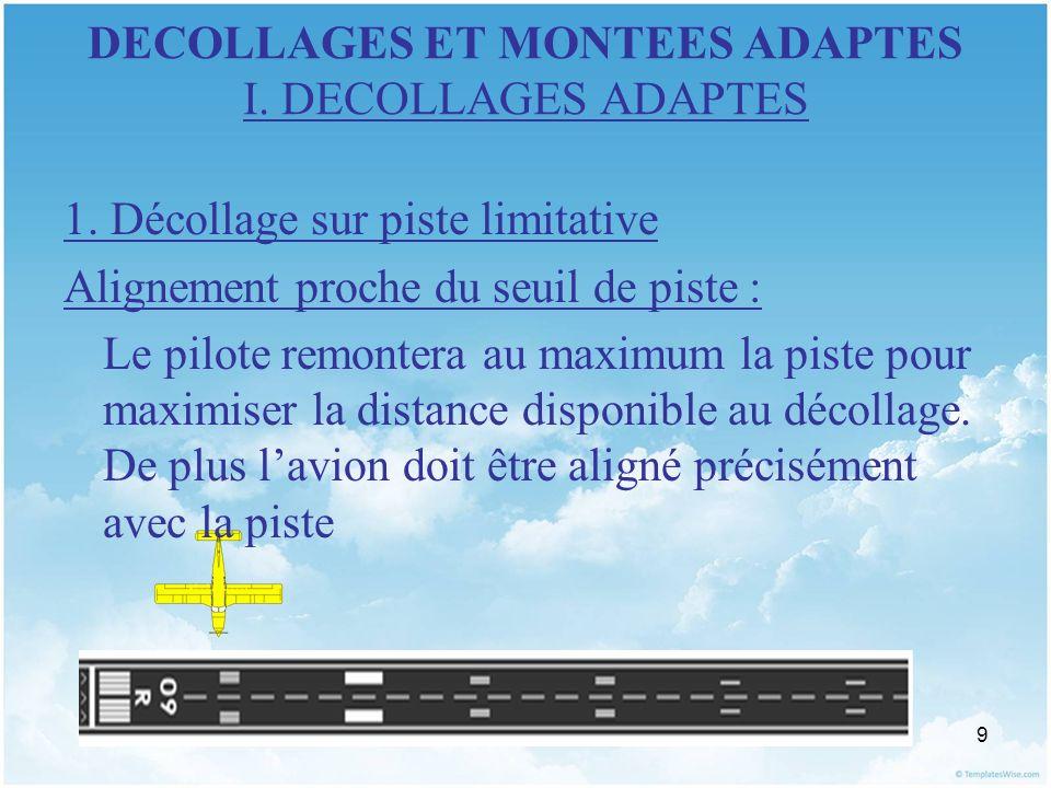 9 DECOLLAGES ET MONTEES ADAPTES I. DECOLLAGES ADAPTES 1. Décollage sur piste limitative Alignement proche du seuil de piste : Le pilote remontera au m