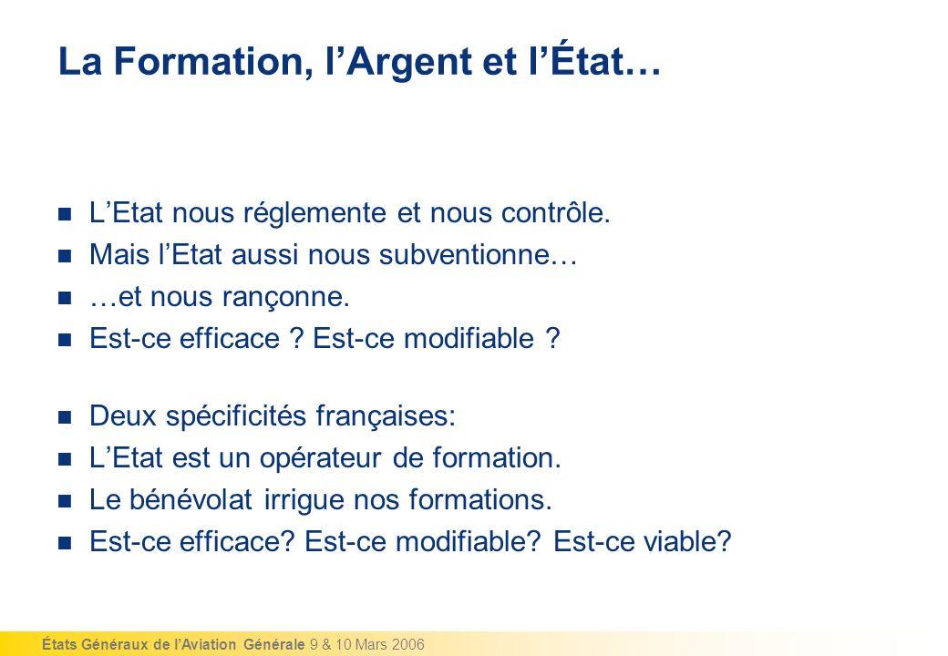 États Généraux de lAviation Générale 9 & 10 Mars 2006 La Formation, lArgent et lÉtat… LEtat nous réglemente et nous contrôle.