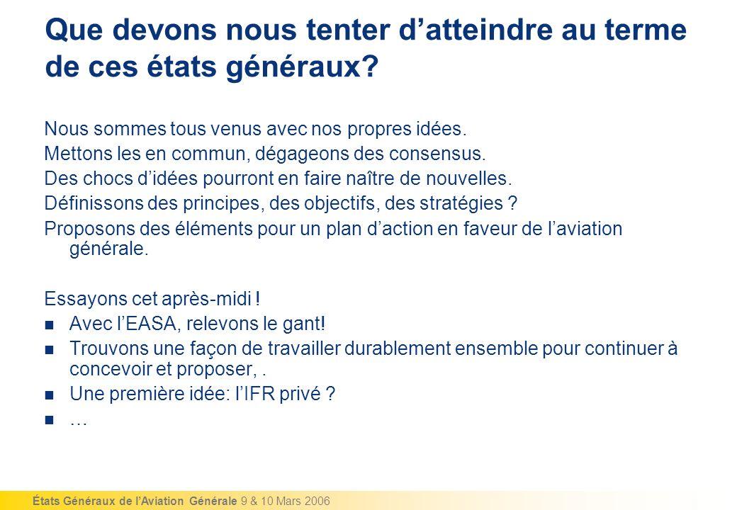 États Généraux de lAviation Générale 9 & 10 Mars 2006 Que devons nous tenter datteindre au terme de ces états généraux.