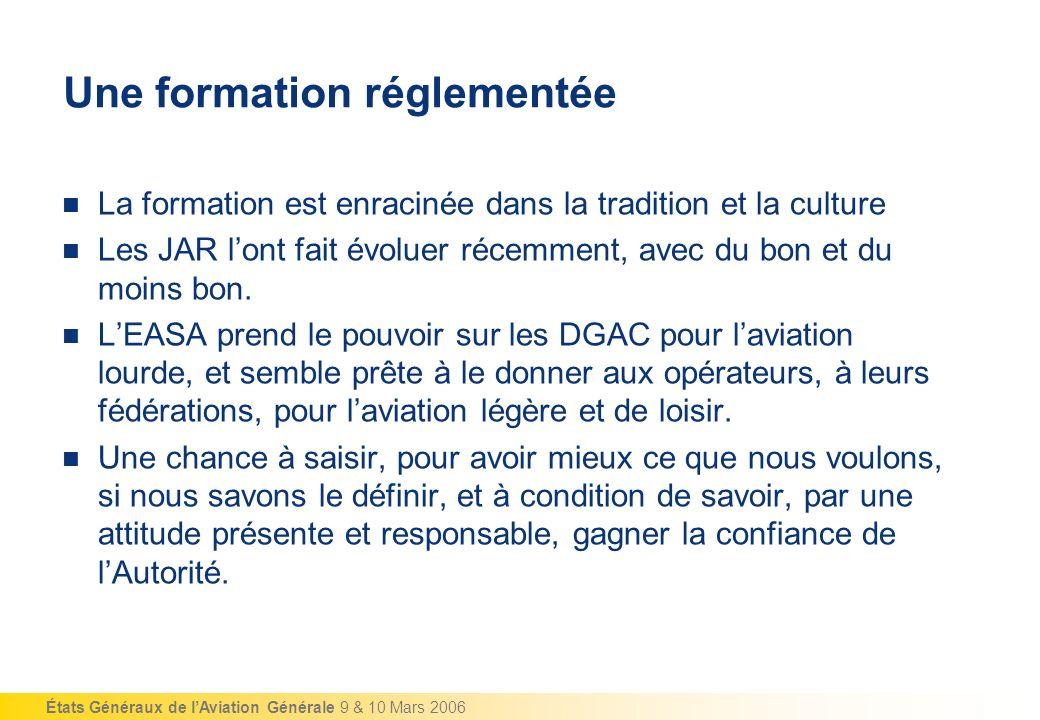 États Généraux de lAviation Générale 9 & 10 Mars 2006 La formation des pilotes daviation générale Une formation réglementée.