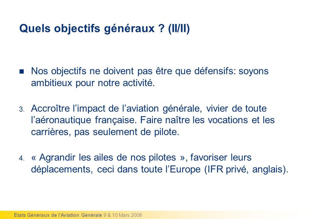 États Généraux de lAviation Générale 9 & 10 Mars 2006 Quels objectifs généraux .