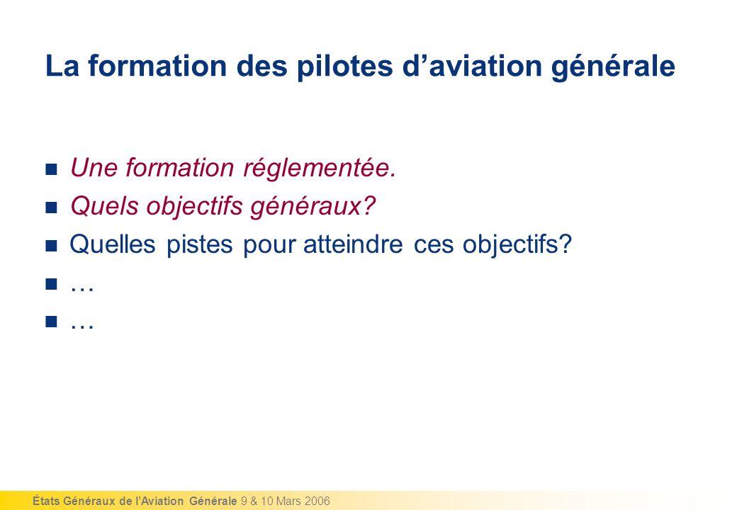 États Généraux de lAviation Générale 9 & 10 Mars 2006 Quelles pistes pour atteindre ces objectifs.