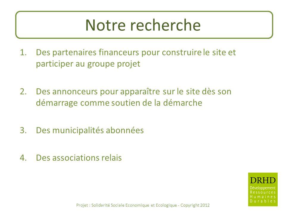 Notre recherche 1.Des partenaires financeurs pour construire le site et participer au groupe projet 2.Des annonceurs pour apparaître sur le site dès s
