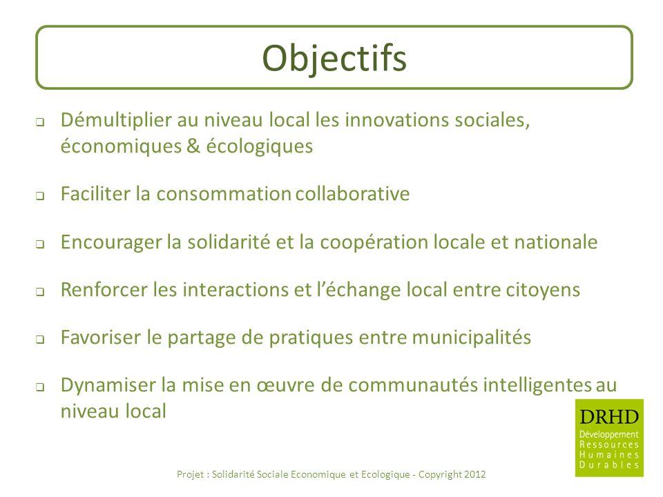 Objectifs Démultiplier au niveau local les innovations sociales, économiques & écologiques Faciliter la consommation collaborative Encourager la solid