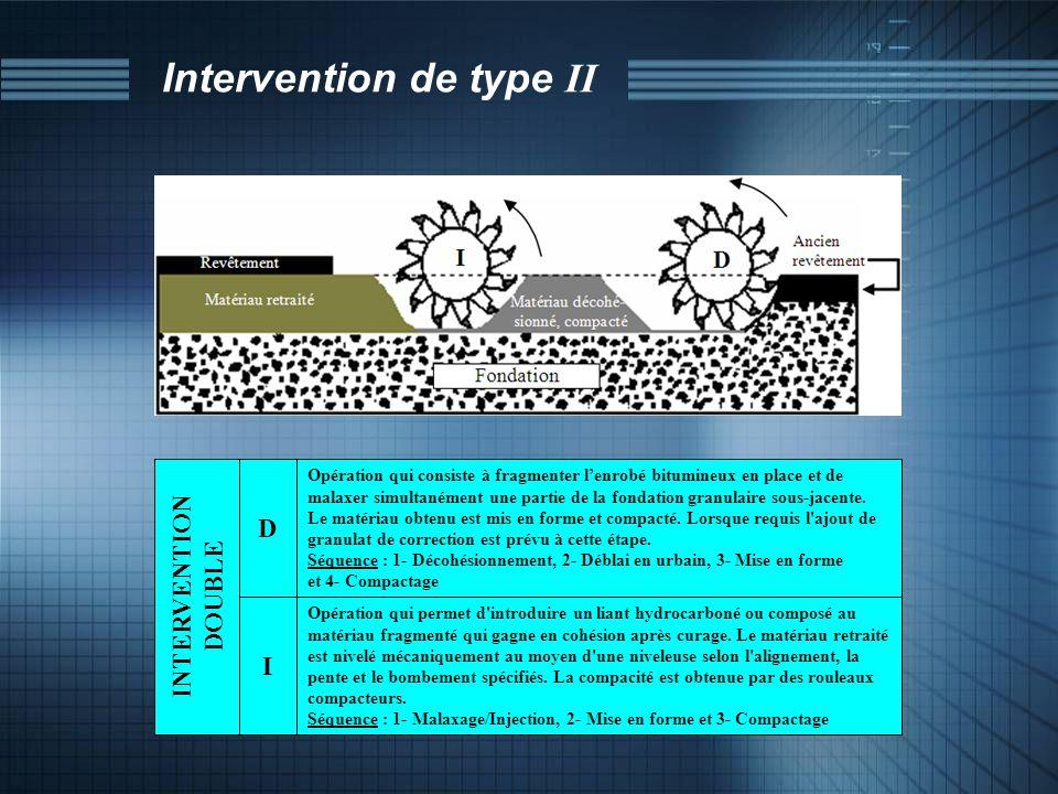 Intervention de type II Opération qui consiste à fragmenter lenrobé bitumineux en place et de malaxer simultanément une partie de la fondation granula