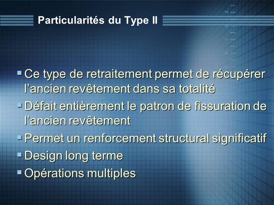 Particularités du Type II Ce type de retraitement permet de récupérer lancien revêtement dans sa totalité Ce type de retraitement permet de récupérer