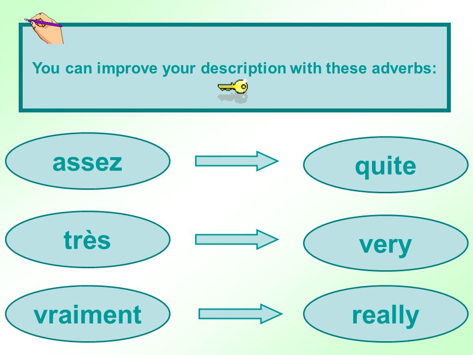 You can improve your description with these adverbs: assez très vraimentreally very quite
