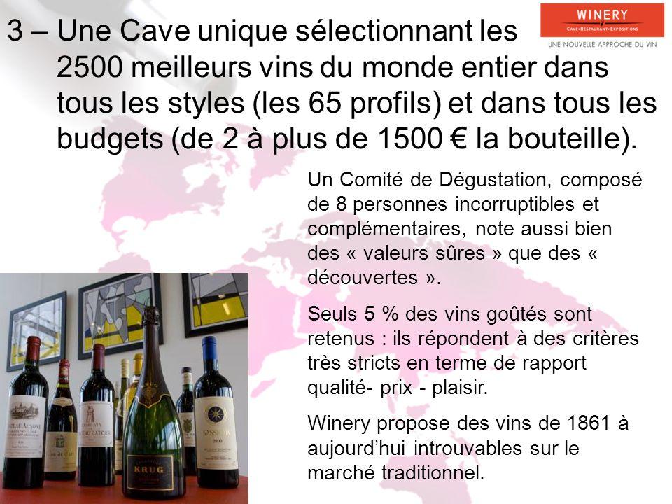 3 – Une Cave unique sélectionnant les 2500 meilleurs vins du monde entier dans tous les styles (les 65 profils) et dans tous les budgets (de 2 à plus de 1500 la bouteille).