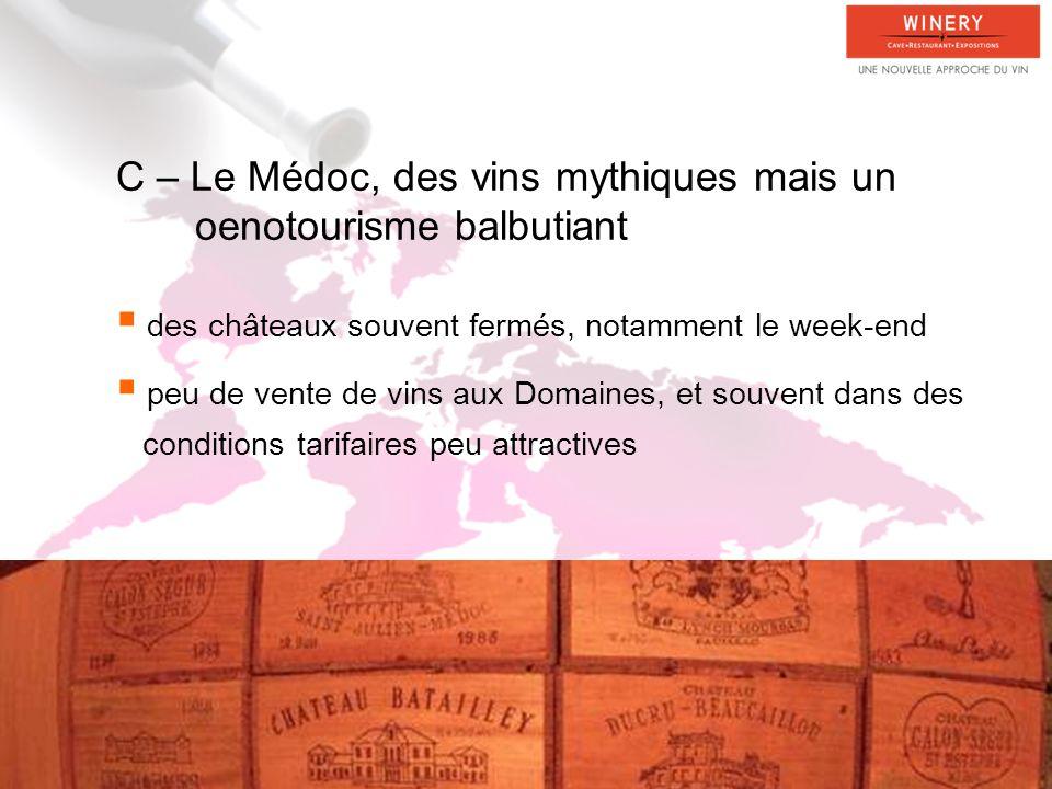 C – Le Médoc, des vins mythiques mais un oenotourisme balbutiant des châteaux souvent fermés, notamment le week-end peu de vente de vins aux Domaines, et souvent dans des conditions tarifaires peu attractives