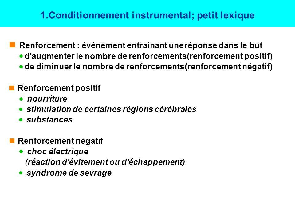 SKINNER ET LE CONDITIONNEMENT OPERANT(1938) CONDITIONNEMENT OPERANT (TYPE II, SKINNERIEN, INSTRUMENTAL): Procédure visant à contrôler un comportement (réponse) en le faisant suivre de façon systématique par un renforcement