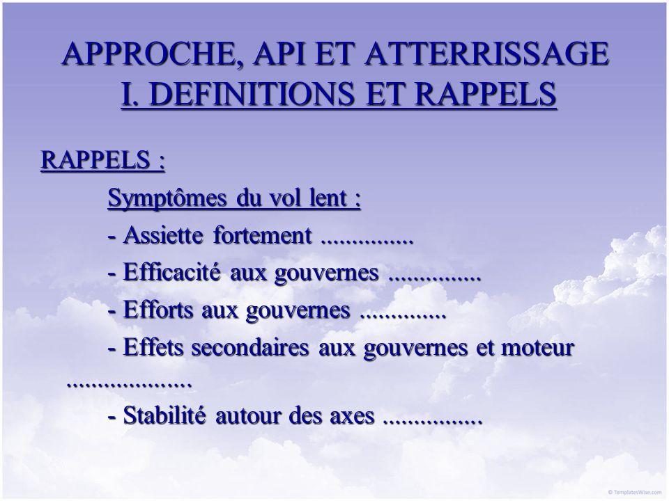 APPROCHE, API ET ATTERRISSAGE I. DEFINITIONS ET RAPPELS RAPPELS : Symptômes du vol lent : - Assiette fortement............... - Efficacité aux gouvern