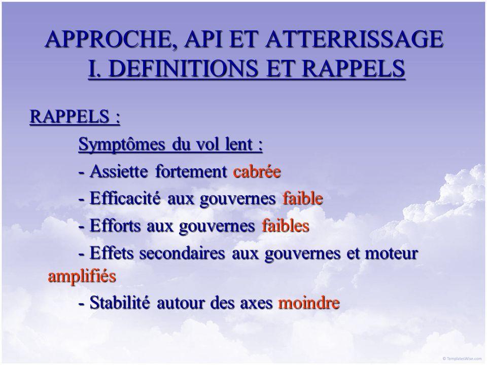 APPROCHE, API ET ATTERRISSAGE I. DEFINITIONS ET RAPPELS RAPPELS : Symptômes du vol lent : - Assiette fortement cabrée - Efficacité aux gouvernes faibl