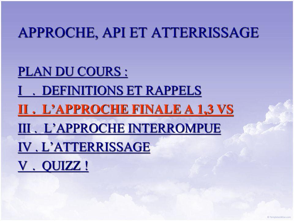 APPROCHE, API ET ATTERRISSAGE PLAN DU COURS : I. DEFINITIONS ET RAPPELS II. LAPPROCHE FINALE A 1,3 VS III. LAPPROCHE INTERROMPUE IV. LATTERRISSAGE V.