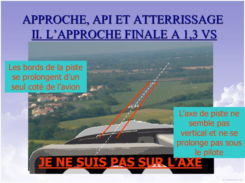 APPROCHE, API ET ATTERRISSAGE II. LAPPROCHE FINALE A 1,3 VS Les bords de la piste se prolongent dun seul coté de lavion Laxe de piste ne semble pas ve