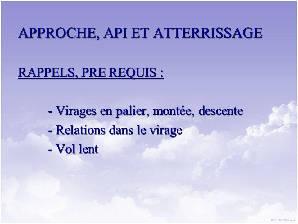 APPROCHE, API ET ATTERRISSAGE I.