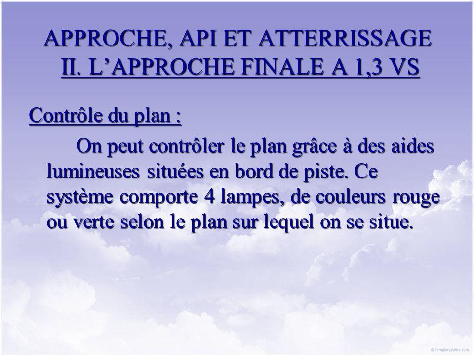 APPROCHE, API ET ATTERRISSAGE II. LAPPROCHE FINALE A 1,3 VS Contrôle du plan : On peut contrôler le plan grâce à des aides lumineuses situées en bord