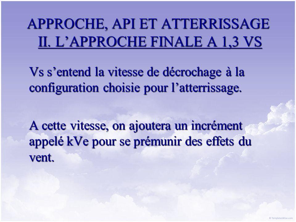 APPROCHE, API ET ATTERRISSAGE II. LAPPROCHE FINALE A 1,3 VS Vs sentend la vitesse de décrochage à la configuration choisie pour latterrissage. A cette
