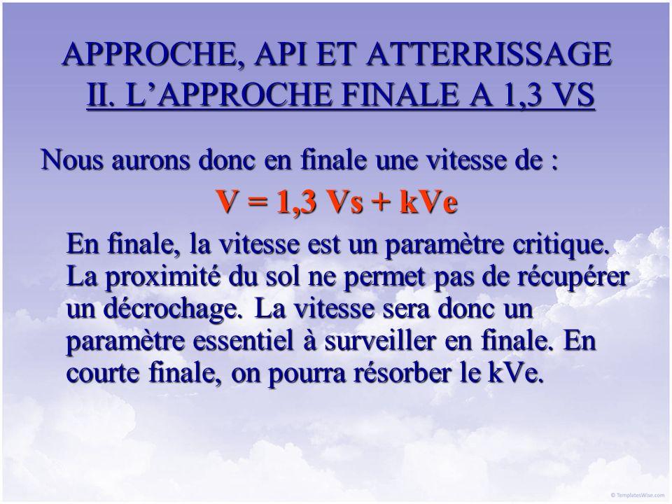 APPROCHE, API ET ATTERRISSAGE II. LAPPROCHE FINALE A 1,3 VS Nous aurons donc en finale une vitesse de : V = 1,3 Vs + kVe En finale, la vitesse est un