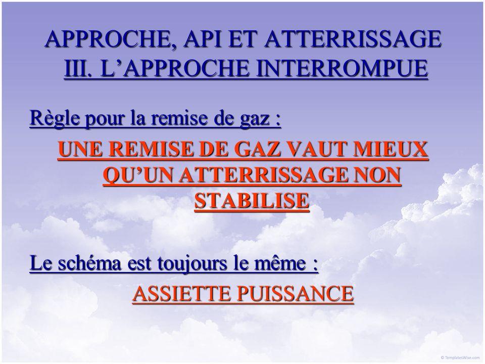 APPROCHE, API ET ATTERRISSAGE III. LAPPROCHE INTERROMPUE Règle pour la remise de gaz : UNE REMISE DE GAZ VAUT MIEUX QUUN ATTERRISSAGE NON STABILISE Le