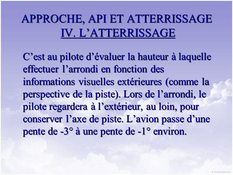 APPROCHE, API ET ATTERRISSAGE IV. LATTERRISSAGE Cest au pilote dévaluer la hauteur à laquelle effectuer larrondi en fonction des informations visuelle
