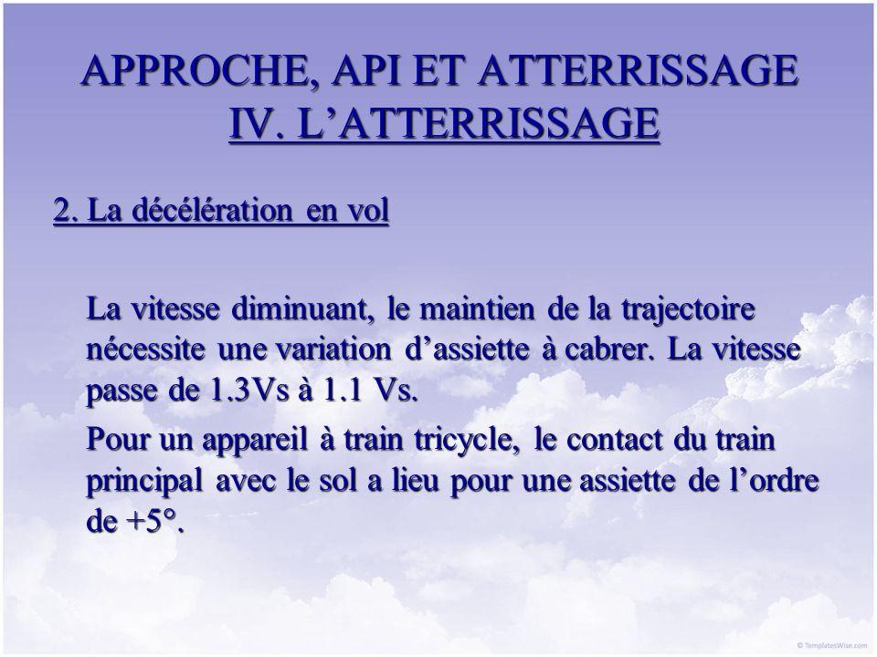 APPROCHE, API ET ATTERRISSAGE IV. LATTERRISSAGE 2. La décélération en vol La vitesse diminuant, le maintien de la trajectoire nécessite une variation