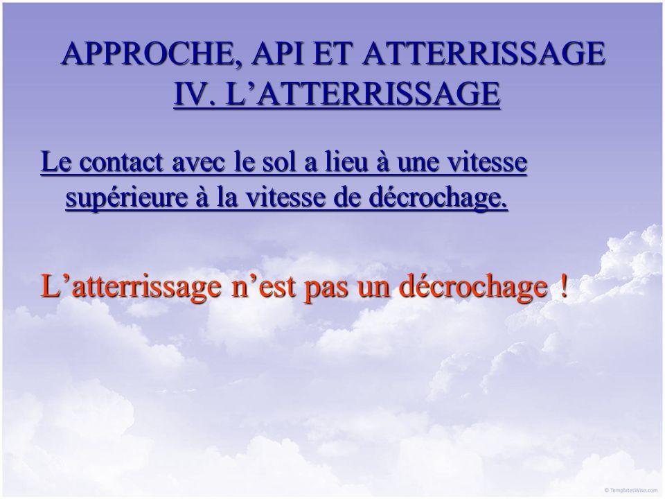 APPROCHE, API ET ATTERRISSAGE IV. LATTERRISSAGE Le contact avec le sol a lieu à une vitesse supérieure à la vitesse de décrochage. Latterrissage nest