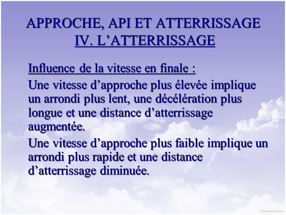 APPROCHE, API ET ATTERRISSAGE IV. LATTERRISSAGE Influence de la vitesse en finale : Une vitesse dapproche plus élevée implique un arrondi plus lent, u