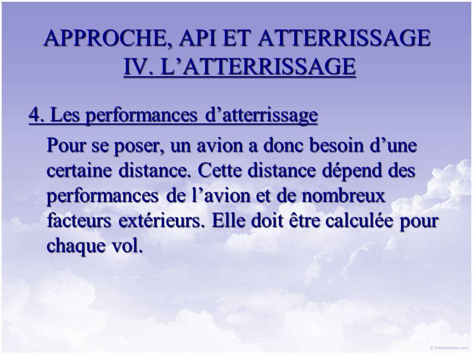 APPROCHE, API ET ATTERRISSAGE IV. LATTERRISSAGE 4. Les performances datterrissage Pour se poser, un avion a donc besoin dune certaine distance. Cette