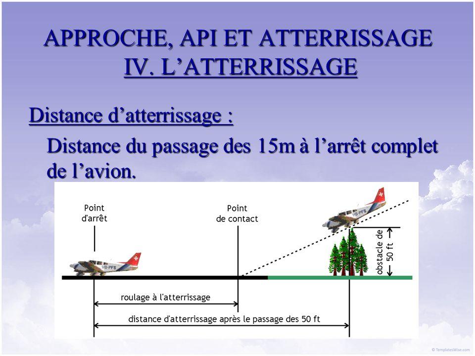 APPROCHE, API ET ATTERRISSAGE IV. LATTERRISSAGE Distance datterrissage : Distance du passage des 15m à larrêt complet de lavion.