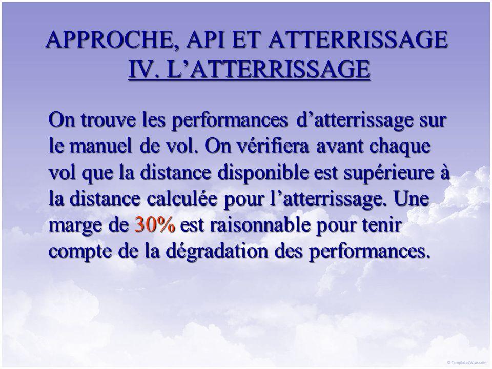 APPROCHE, API ET ATTERRISSAGE IV. LATTERRISSAGE On trouve les performances datterrissage sur le manuel de vol. On vérifiera avant chaque vol que la di