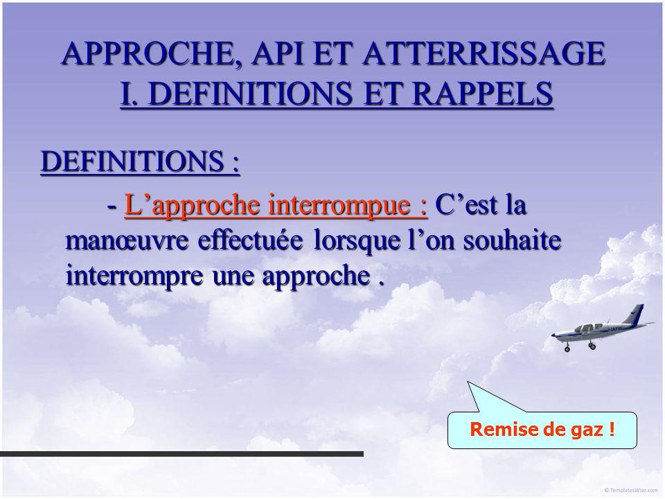 APPROCHE, API ET ATTERRISSAGE II.LAPPROCHE FINALE A 1,3 VS 1.